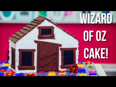 How To Make A Wizard Of Oz: Magic Match CAKE! Auntie Em's House made of Rainbow Vanilla Cake!