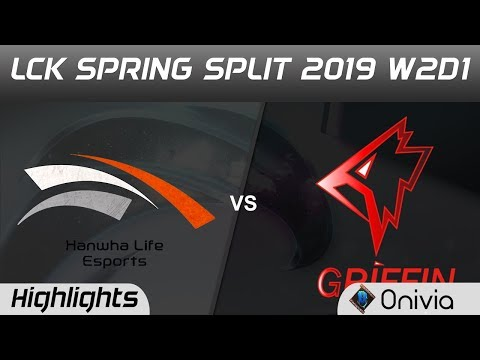 HLE vs GRF Highlights Game 1 LCK Spring 2019 W2D1 Hanwha Life Esports vs Griffin by Onivia