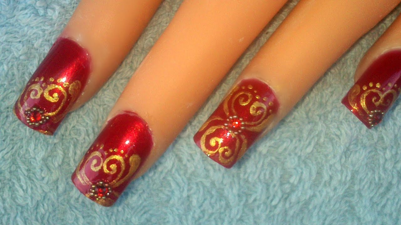 Indian bridal nailart - requested - YouTube