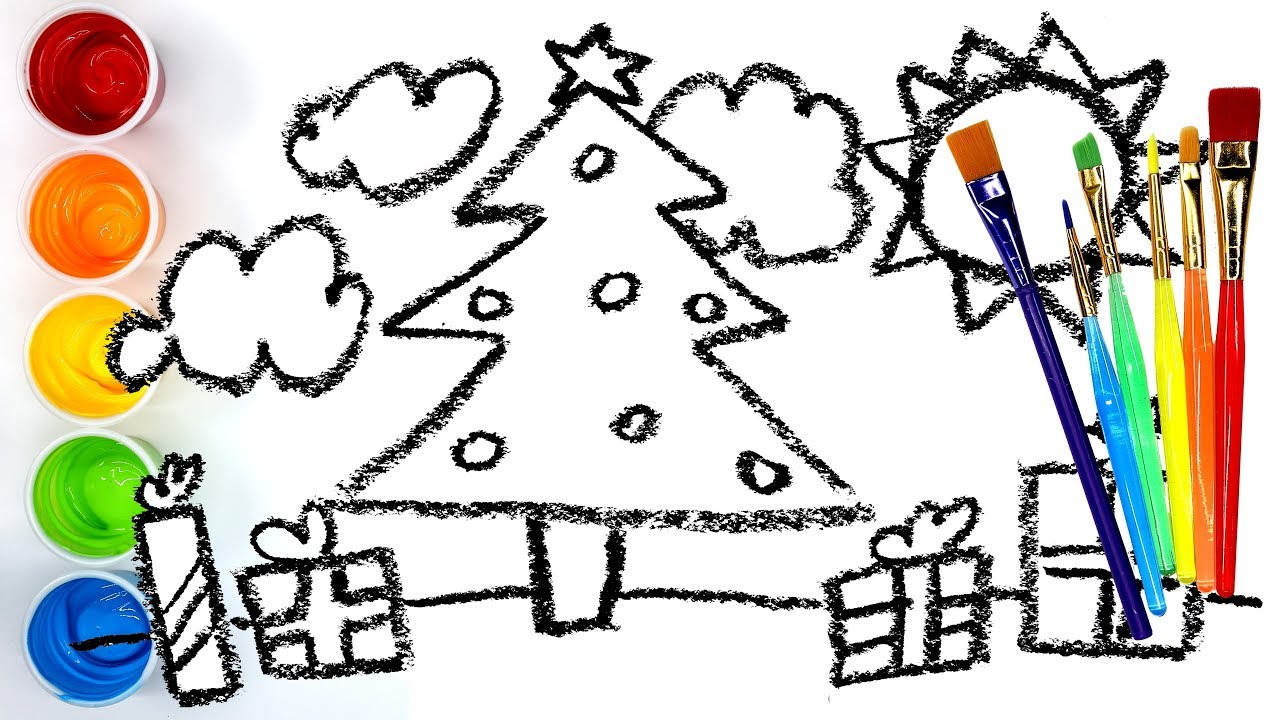 Coloring And Painting My Drawing Christmas Tree Colouring Pages