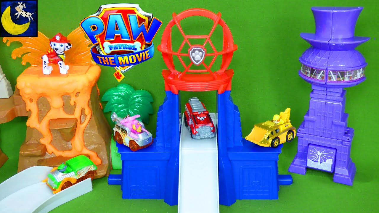 Paw Patrol THE MOVIE Total City Rescue Set True Metal Playset Big City Marshall Toys Video for Kids