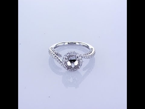 .75CT 14k White Gold Round Halo Diamond Engagement Ring