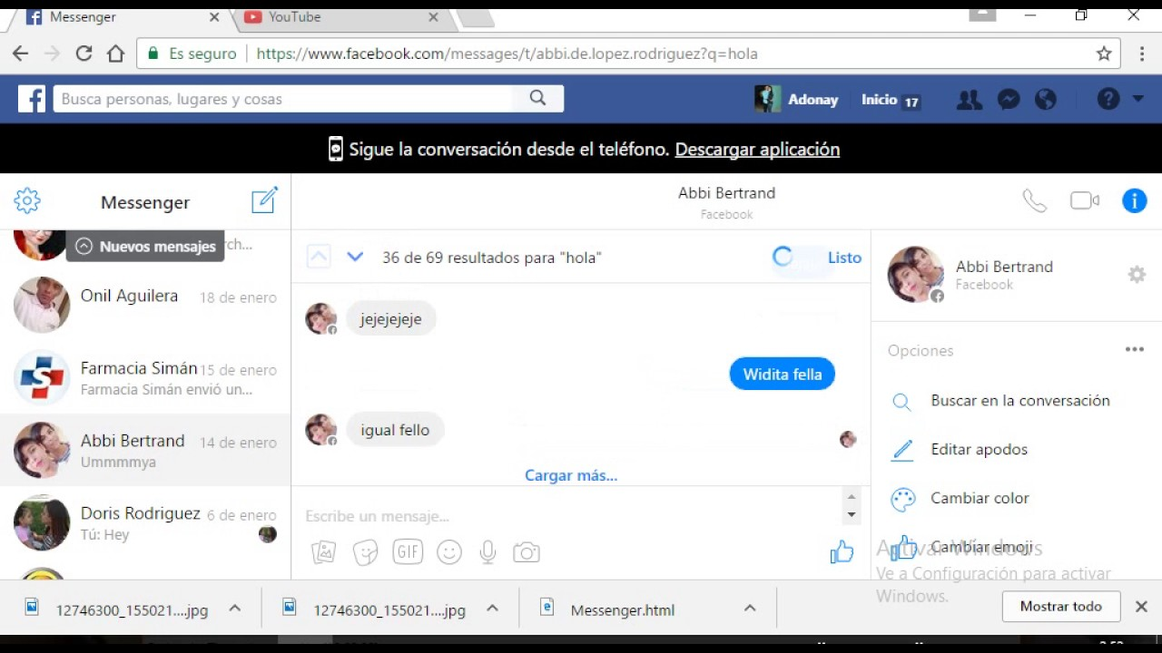 Opciones para personalizar los chats de Facebook Messenger