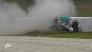 Drain Cover Pitches Grosjean into High-Speed Crash  | F1 Most Dramatic Moments 2017