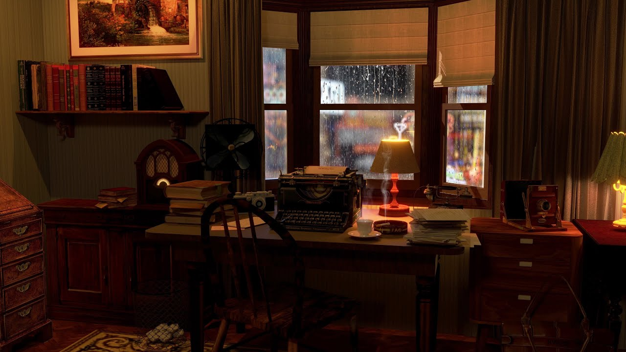 1950s ambiance | rain on window sounds - 8 Hours Relaxation and Sleep | rain sounds