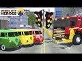 Fire Truck Teaching Traffic Light & Sign Sergeant Lucas the Police Car - Wheel City Heroes Cartoon