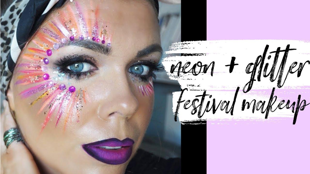 Easy Festival Face Paint Glitter Makeup Youtube