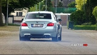 bmw m5 e60 v10 loud exhaust sounds powerslides accelerations
