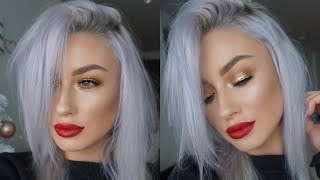 CLASSIC CHRISTMAS MAKEUP LOOK | GOLD GLITTER EYES & RED LIP | LOLALINER