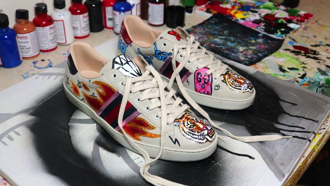 f637fc11af7 PAINTING ON GUCCI FLAME SNEAKERS - YouTube
