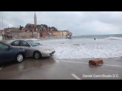 Nevrijeme Rovinj 10.02.2016. / Storm in Rovinj - Croatia, huge waves and flood