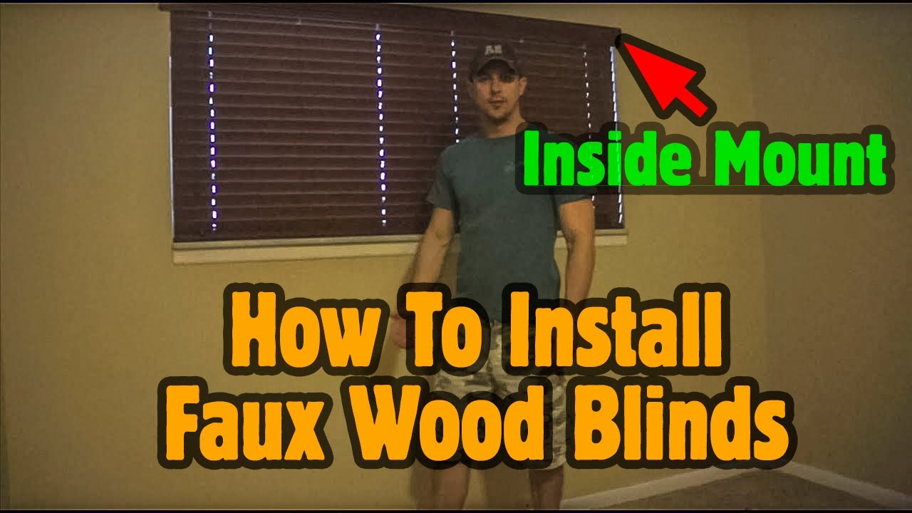 how to install faux wood blinds with inside mount youtube. Black Bedroom Furniture Sets. Home Design Ideas