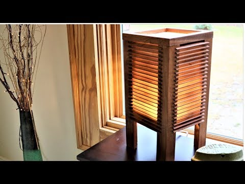 Japanese inspired lamp with wooden blinds