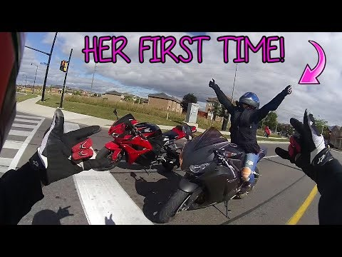 Her first time on a 1000cc motorcycle!!!