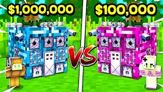 BROTHER vs SISTER $1,000,000 MINECRAFT SECRET BASE CHALLENGE! (BOY vs GIRL) (NOOB vs PRO)