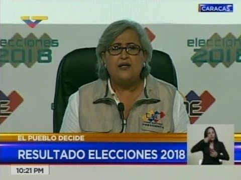 Tibisay Lucena, Presidenta del CNE, anuncia resultados de elecciones presidenciales 2018
