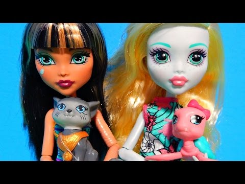 Monster High Ghoul's Beast Pet Dolls Cleo De Nile & Lagoona Blue w/ Cat & Turtle Unboxing Toy Review