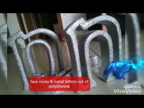 DIY How to make easy fake rock / metal letters out of polysterene / styrofoam    #polysterene