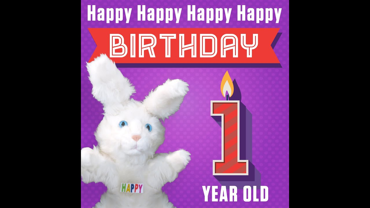 "Hoppa The Happy Bunny ""Happy Happy Happy Happy Birthday 1 Year"