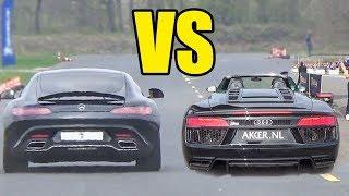 MERCEDES AMG GTS vs AUDI R8 V10 SPYDER 😱DRAG RACE😱