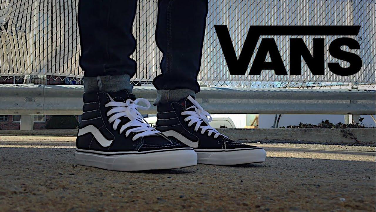 vans sk8 hi all black on feet