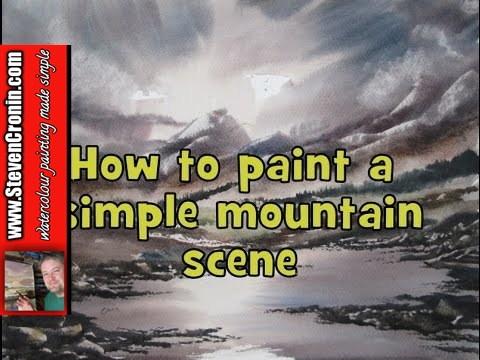 How to paint a simple mountain scene in watercolour
