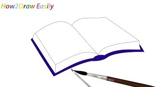 How to Draw an Open Book Easy Step by Step Drawing - Coloring