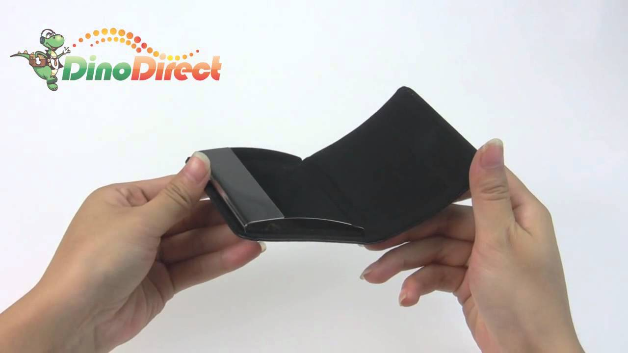 Black Leather Business Card Holder A-0027 from Dinodirect.com - YouTube