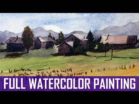 Full Watercolor Tutorial – How to Paint a Village in the Mountains