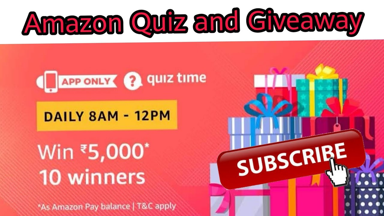 Amazon Quiz Answer Today, Win RS  5000 | 10 winners , Amazon Quiz and  Giveaway