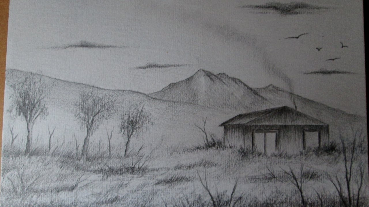 Cmo dibujar un simple y rpido paisaje a lpiz paso a paso para