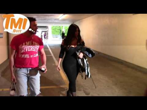 Kim Kardashian Leaving Roxsan Pharmacy Wearing Tom Ford Fringe Sandals And VERY Low-Cut Top