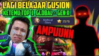 AMPUNN!! LAGI BELAJAR GUSION KETEMU TOP 1 GLOBAL BINTANGNYA 2500+!! - Mobile Legends