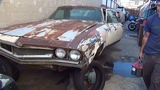 1968 El Camino SS396 start up 1a, a day of fun at tatro's truck junk yard Chevy big block barn find