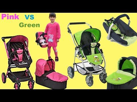 Pink VS Green 3- IN -1 Baby Dolls Pram Stroller Nursery Toys Baby Born Baby Annabell