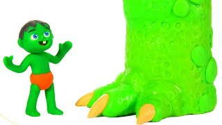 SUPERHERO BABIES MEET MUMMY DINOSAUR ❤ SUPERHERO PLAY DOH CARTOONS FOR KIDS