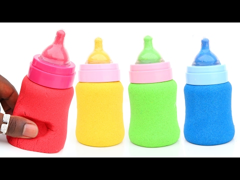 DIY How To Make Kinetic Sand Baby Milk Bottles Play Doh Popsicles Ice Cream Modelling Clay