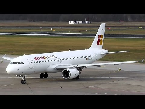 Iberia Express Airbus A320-214 EC-KOH IB 3676 landing + docking the gangway at Berlin Tegel Airport