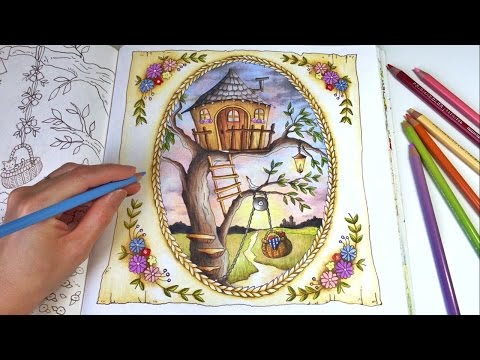 the-treehouse- -romantic-country-a-fantasy-coloring-book- -coloring-with-colored-pencils
