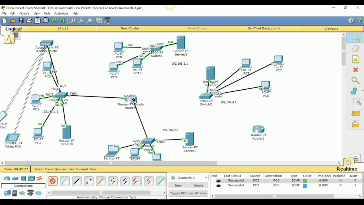 How to config 1 One router and 4 network step by step in Cisco Packet  Tracer Tutorial in Urdu|Hindi