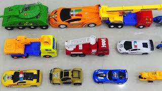 Cars For kids| Learn Vehicles Name and Sounds With Toys, Excavator and fire truck, police car,