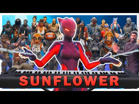 "24 players play ""Sunflower"" on Fortnite piano thumbnail"