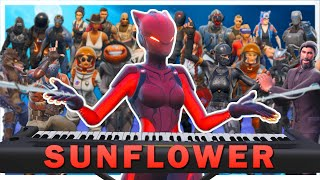 "24 players play ""Sunflower"" on Fortnite piano"