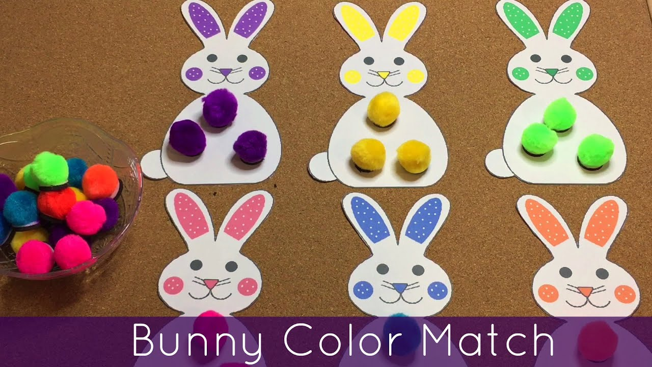 Bunny Color Match Preschool and Toddler Learning Activity