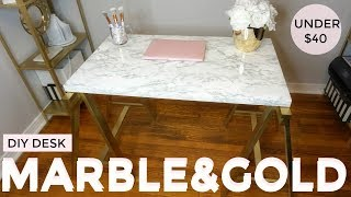 Gold and Marble DIY | UNDER $40 Desk | IKEA HACK