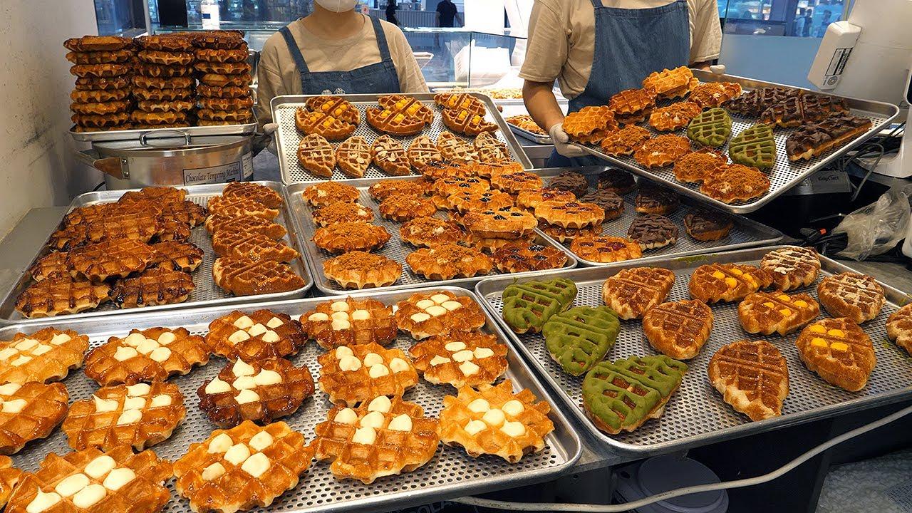 펄슈가 반죽! 달달한 와플 공장 / pearl sugar dough! sweet waffle factory - korean street food