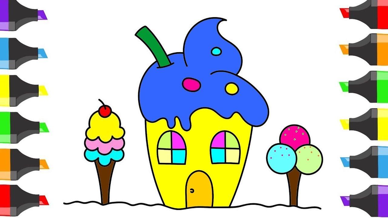 تعليم الرسم للأطفال كيف ترسم بيت مع الايس كريم رسم وتلوين سهل