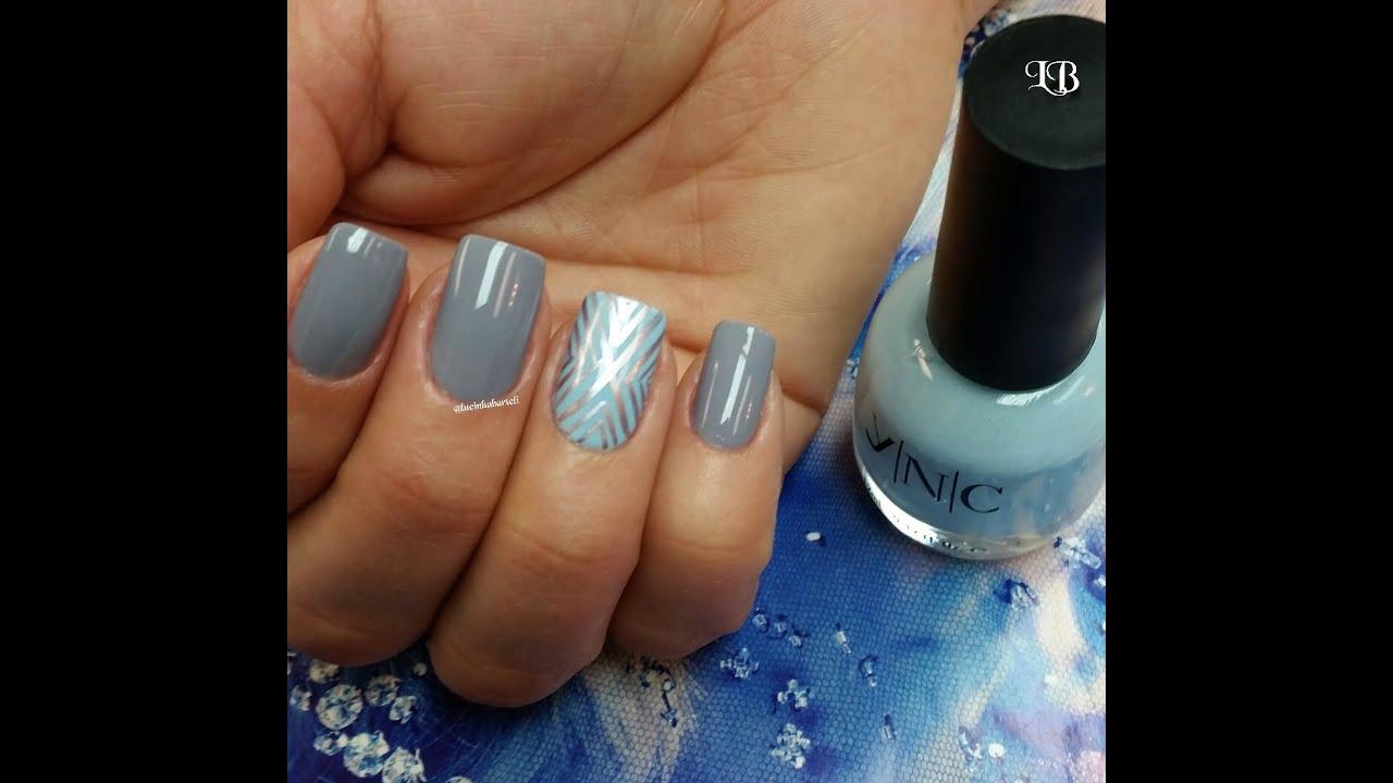 - Gray And Blue Nail Art - YouTube