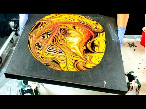 SPOOKTACULAR Halloween Pour | Easy Abstract Art | Wrecked Ring Pour | Acrylic Pouring | Fluid Art