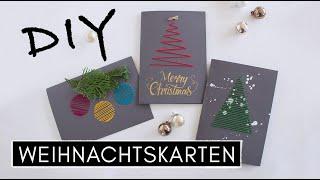 3 DIY Weihnachtskarten selber gestalten - Papier besticken, Stempeltechnik & Karten mit Stoffresten